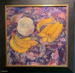 Still life, Bananas,Yellow,Pinck oil   cm. 60 x 60 1997 Free shipping