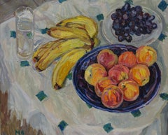 Still life, Bananas, peaches and grapes    oil   cm. 60 x 50
