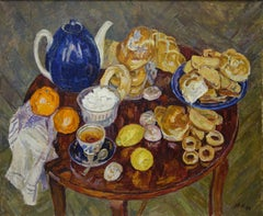 """Tea time"",Lunch, Breakfast,Lunchroom  1994, oil, cm. 110 x 90"