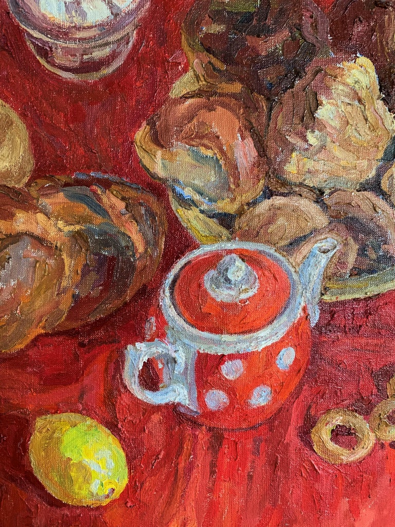 Wedding list, Wedding gift, Wedding,Tea,Red, sweet,Russian Impressionism,Kitchen, dining room  MAYA KOPITZEVA    (Gagra, Georgia, 1924 - 2005)  Maya kopitzeva's works have been acquired by the Russian Ministry of Culture, by the Foundation for the