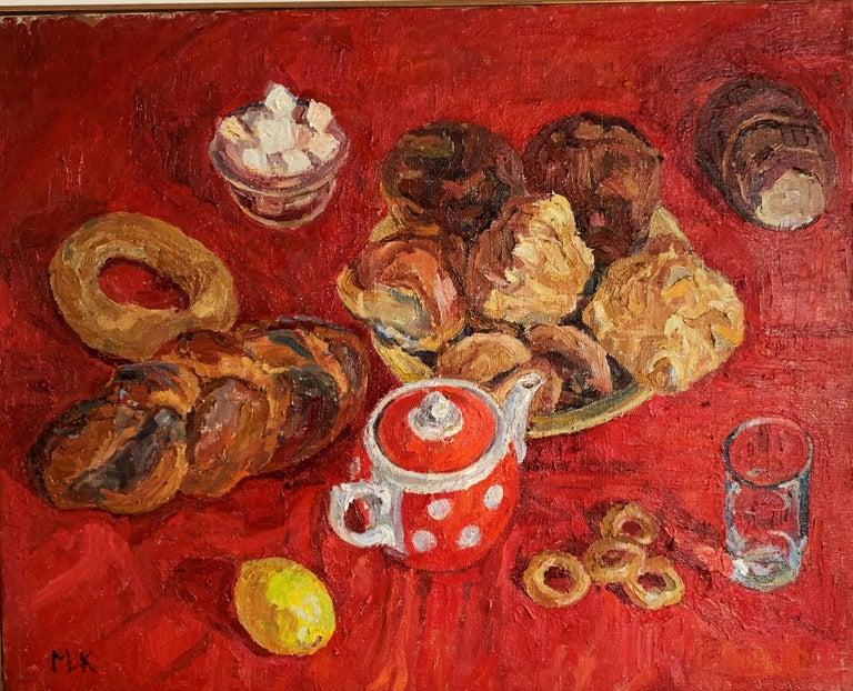 "Maya KOPITZEVA Figurative Painting - ""Tea time""Red, sweet, oil cm. 65 x 52 Offer Free Shipping"