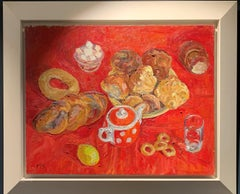 """""""Tea time""""Red, sweet, oil cm. 65 x 52 Offer Free Shipping"""