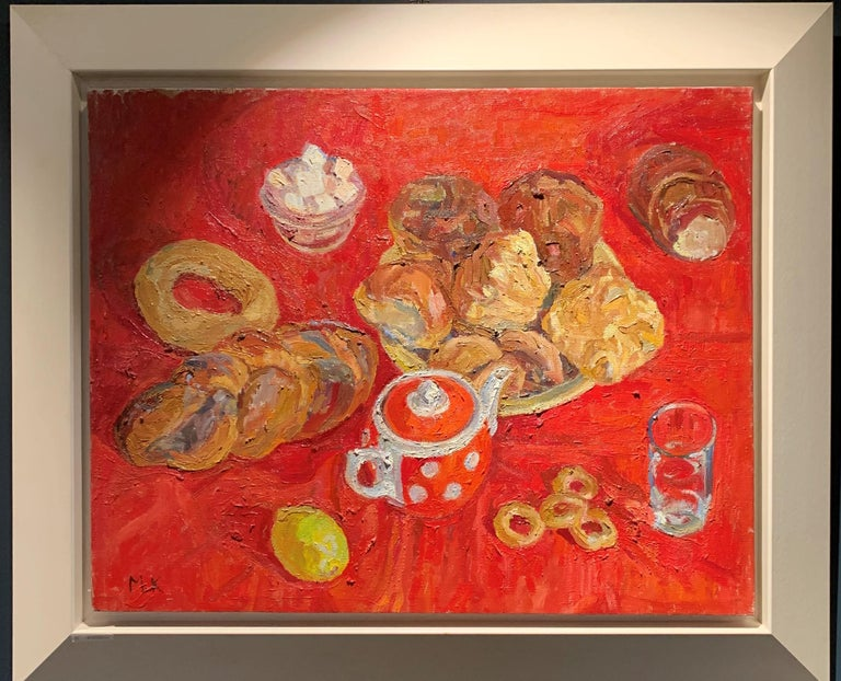 "Maya KOPITZEVA Figurative Painting - ""Tea time""Red, sweet, oil cm. 65 x 52 Offer Free Shipping"