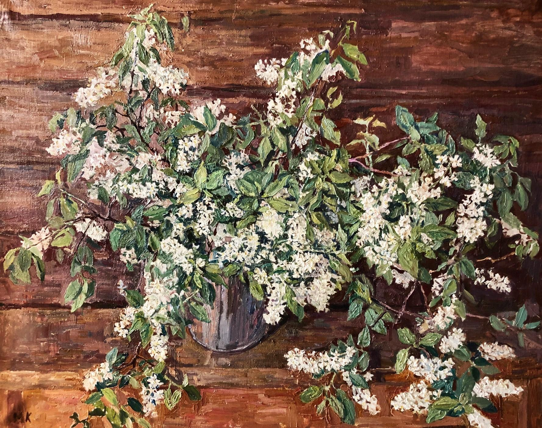 White Cherry blossoms ,   Flowers,Russian Impressionism Oil cm 110 x 80