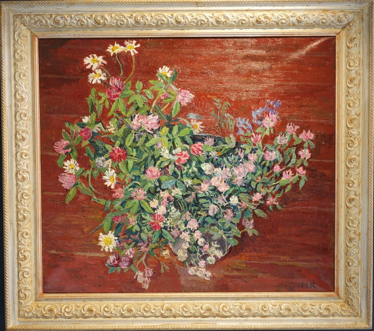 """Maya KOPITZEVA Figurative Painting - """"Wildflowers""""Clover and Daisies, Pink, White, Green,  Offer Free Shipping"""