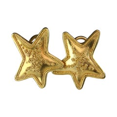 Maya Star Design Earrings - Handmade 22k 18k Yellow Gold with Granulation Signed