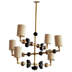 'Mayfair' Contemporary Chandelier, Brass with Sculpted Spheres by Margit Wittig
