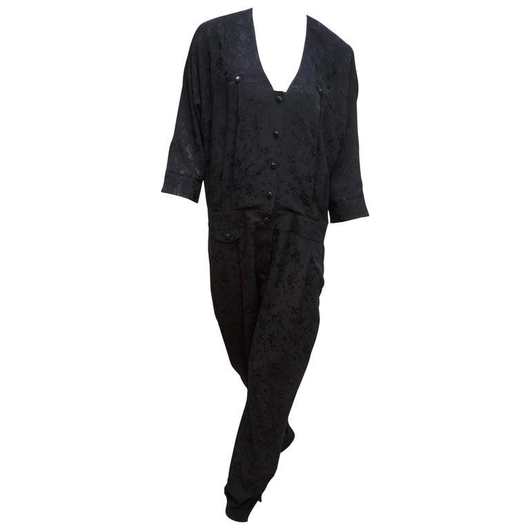 Mayle Black Tonal Floral Jumpsuit For Sale