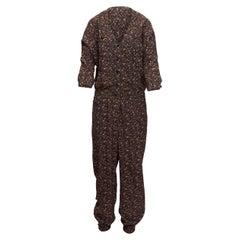 Mayle Brown & Black Silk Leopard Print Jumpsuit