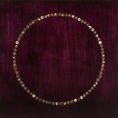 Circle Dream 83- hollyhocks and resin on panel