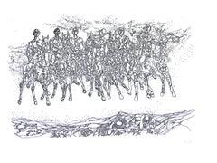 Groupe de Cavaliers - Original b/w Etching - Mid 1900