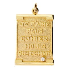 Mayors Birks 14K Solid Gold & Diamond I Love You Je T'Aime Pendant For Necklace