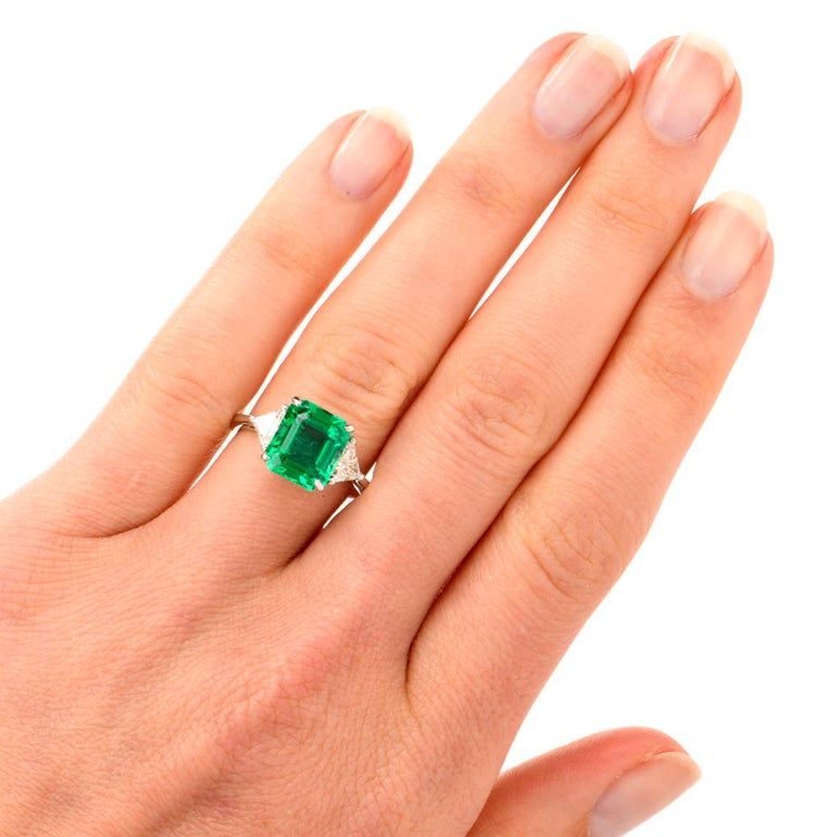 Mayors Certified 3.03 Carat Colombian Emerald Diamond Platinum Cocktail Ring In Excellent Condition For Sale In Miami, FL