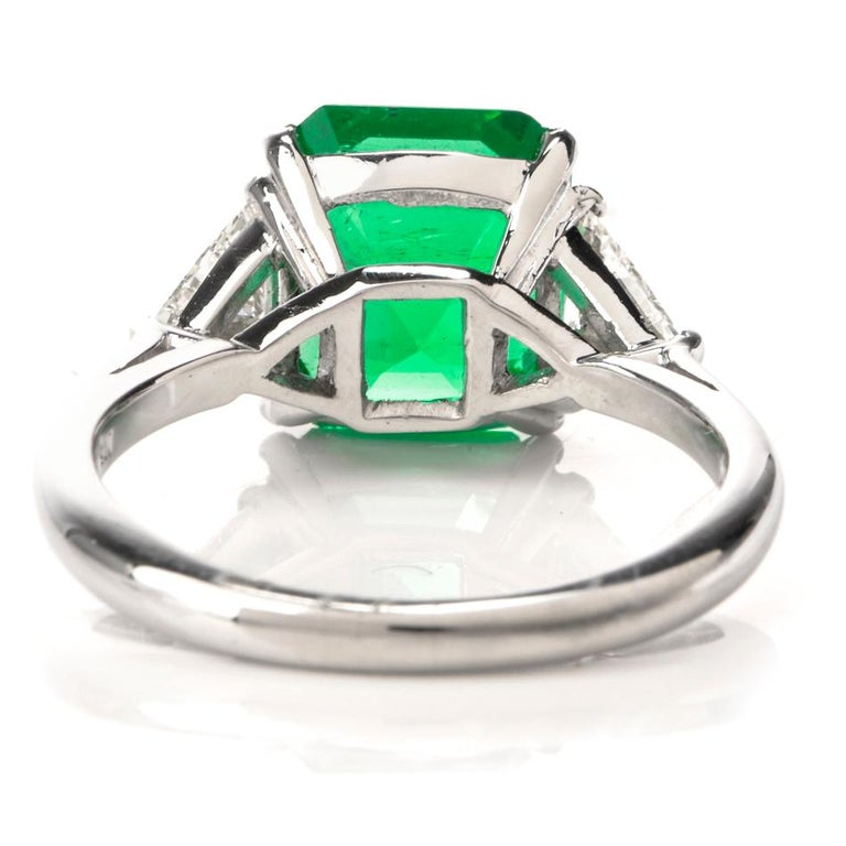 Mayors Certified 3.03 Carat Colombian Emerald Diamond Platinum Cocktail Ring For Sale 1
