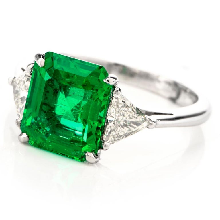 Mayors Certified 3.03 Carat Colombian Emerald Diamond Platinum Cocktail Ring For Sale 2