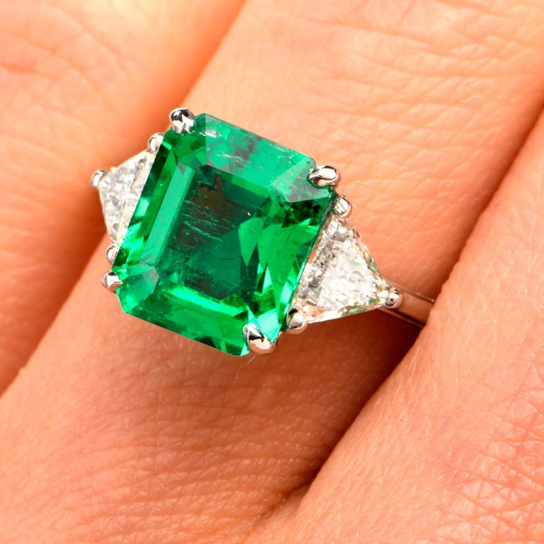 Mayors Certified 3.03 Carat Colombian Emerald Diamond Platinum Cocktail Ring For Sale 3