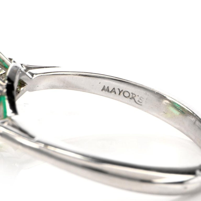 Mayors Certified 3.03 Carat Colombian Emerald Diamond Platinum Cocktail Ring For Sale 4