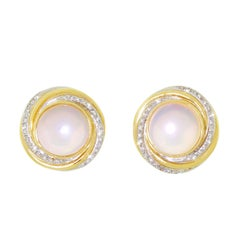 Mayors Diamond 14 Karat Gold Mabe Pearl Button Earrings 14 Grams