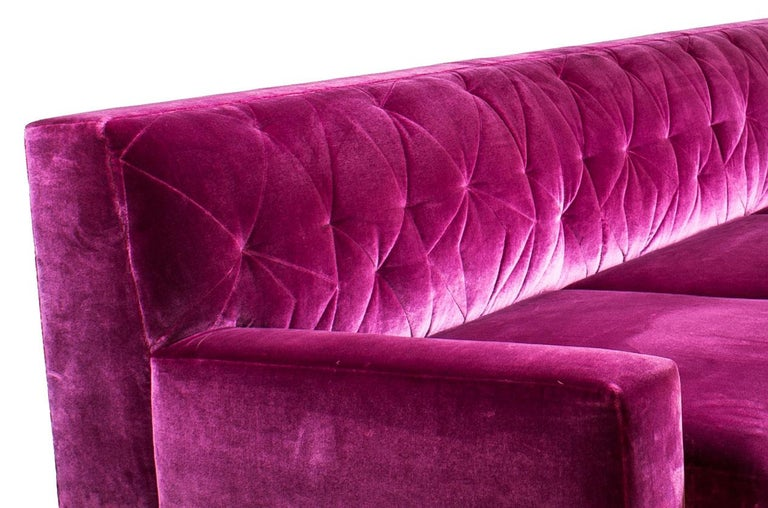 American Mayweather Sofa with Tufted Back, Nickel Legs in Fuchsia Pink Silk Velvet, COM For Sale