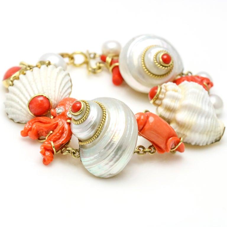 Retro MAZ 18 Karat Yellow Gold Coral Shell Pearl Diamond Charm Bracelet For Sale