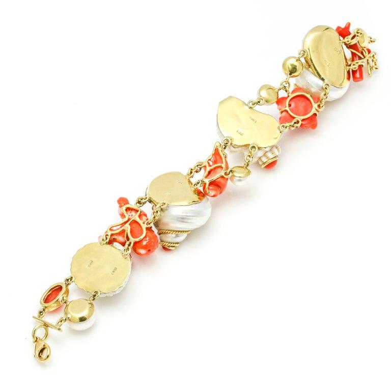 Women's MAZ 18 Karat Yellow Gold Coral Shell Pearl Diamond Charm Bracelet For Sale