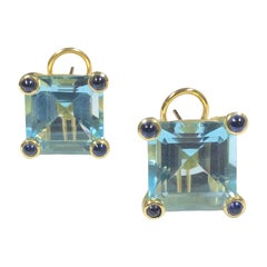 Maz Large Yellow Gold Blue Topaz and Sapphire Earrings