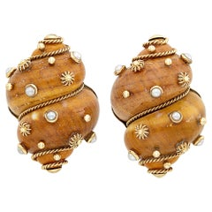 Maz Pair of Gold, Shell and Cultured Pearl Earrings