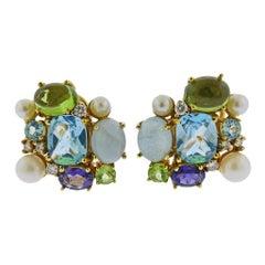 Maz Pearl Iolite Topaz Aquamarine Diamond Peridot Gold Earrings