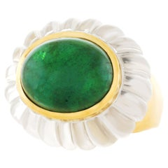 MAZ Rock Crystal and Emerald Ring