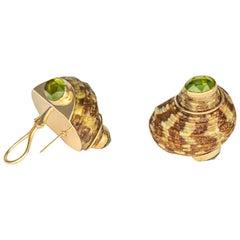 Maz Shell and Peridot Earrings