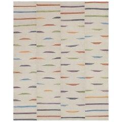 Tribal Mid-Century Modern Style Mazandaran Flat-Weave Rug