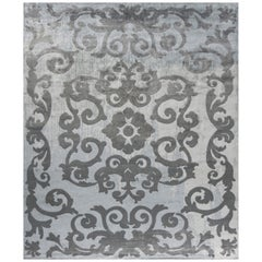 Hand Knotted - silk rug - Mazarin Arty Celadon, Edition Bougainville