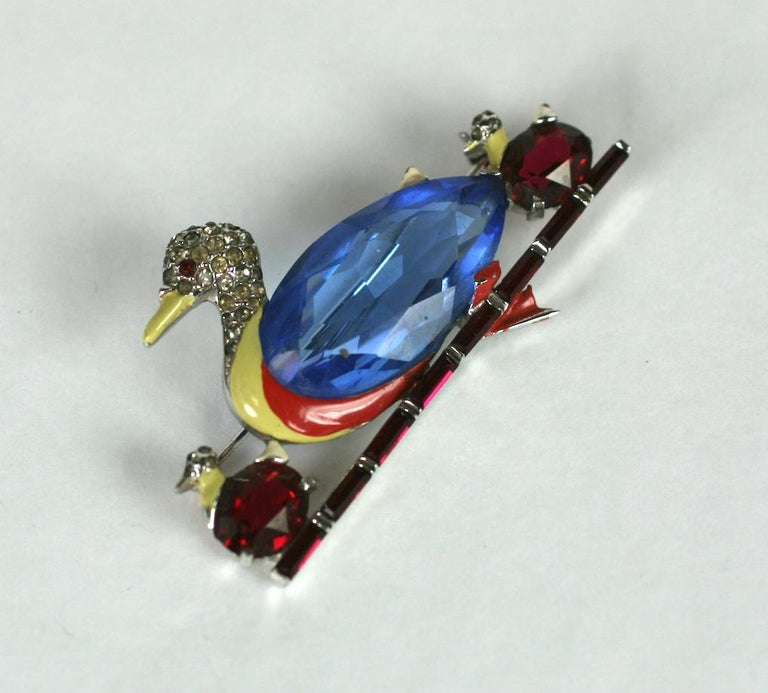 Mazer Art Deco Duck Brooch In Excellent Condition For Sale In Riverdale, NY