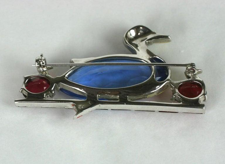 Women's or Men's Mazer Art Deco Duck Brooch For Sale