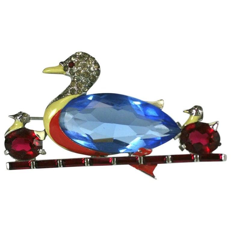 Mazer Art Deco Duck Brooch For Sale