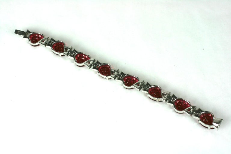 Round Cut Mazer Art Deco Faux Ruby Invisibly Set Link Bracelet For Sale