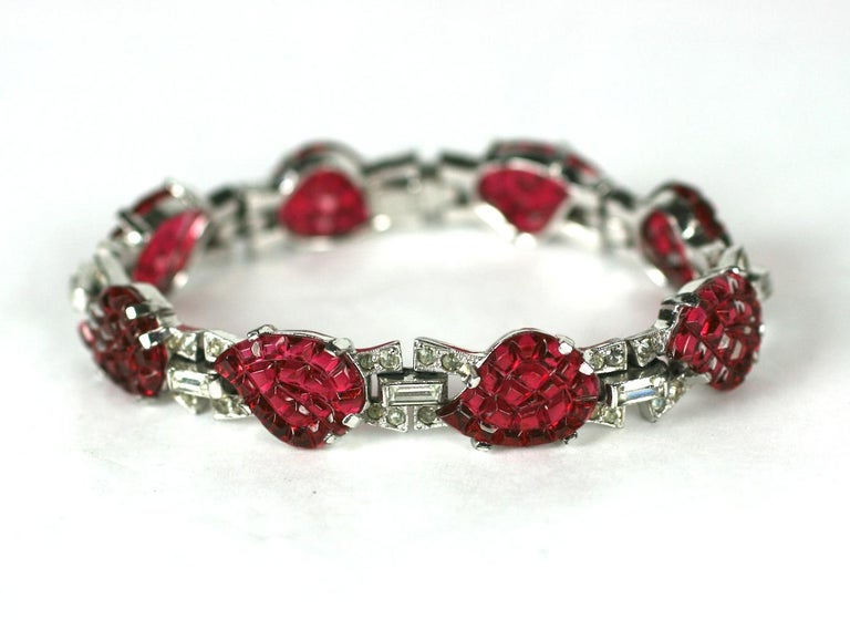 Women's Mazer Art Deco Faux Ruby Invisibly Set Link Bracelet For Sale