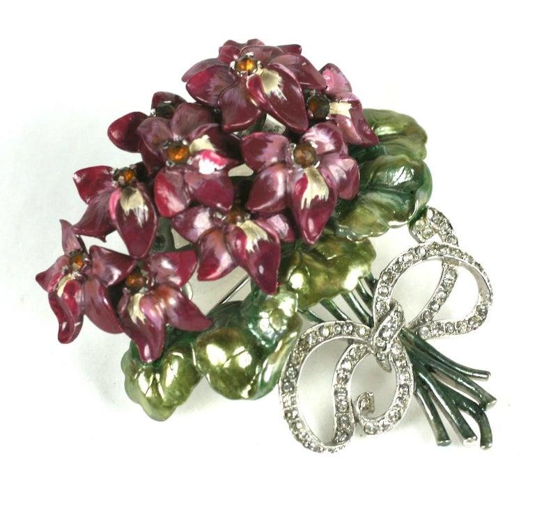 Retro Mazer Large Pearlescent Enamel Violet Bouquet Brooch For Sale