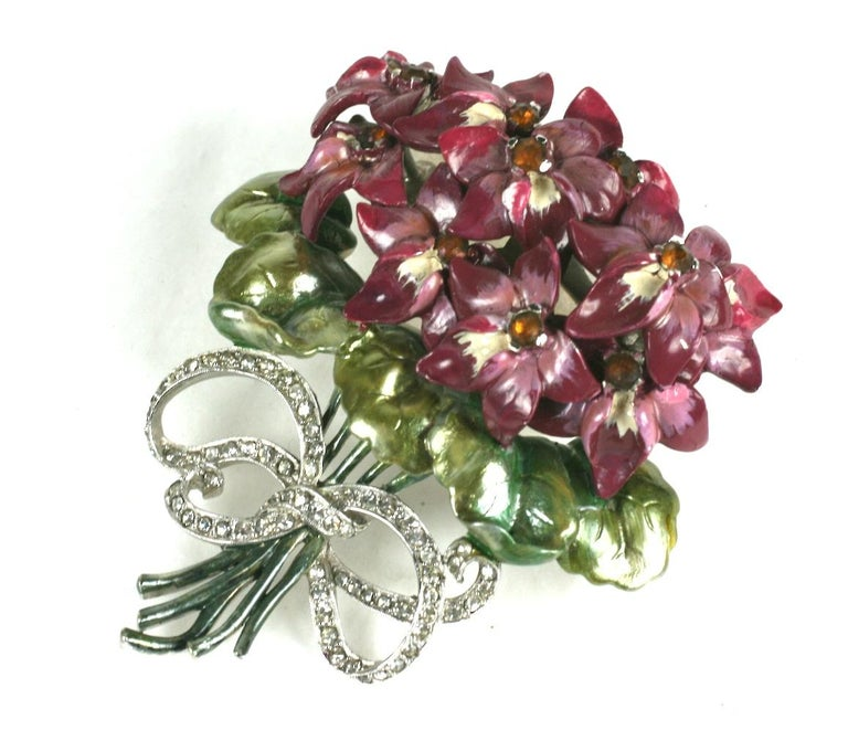 Mazer Large Pearlescent Enamel Violet Bouquet Brooch In Excellent Condition For Sale In Riverdale, NY