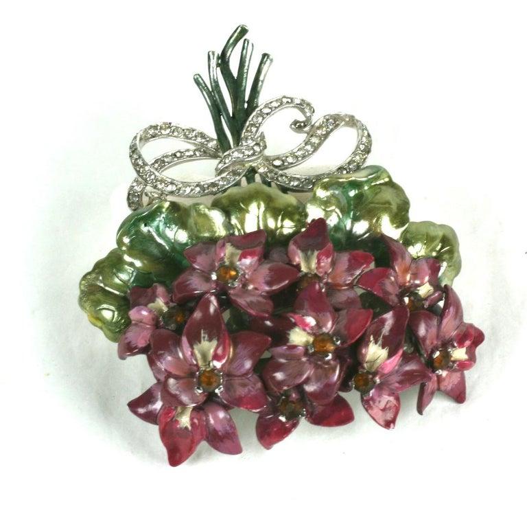 Women's or Men's Mazer Large Pearlescent Enamel Violet Bouquet Brooch For Sale