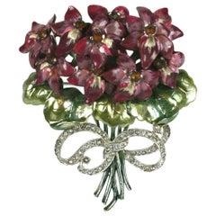 Mazer Large Pearlescent Enamel Violet Bouquet Brooch