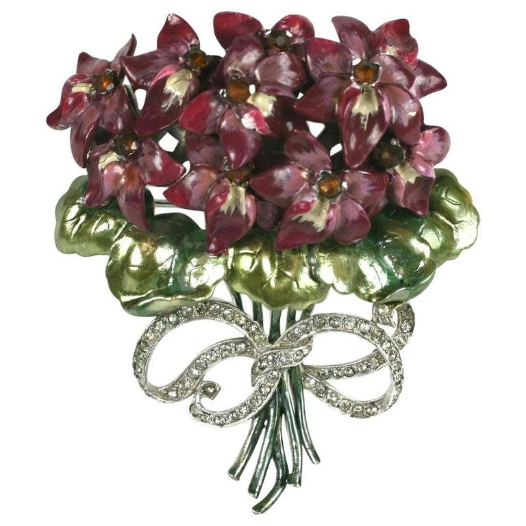 Mazer Large Pearlescent Enamel Violet Bouquet Brooch For Sale