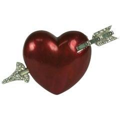 Mazer Pearlized Enamel Heart Brooch