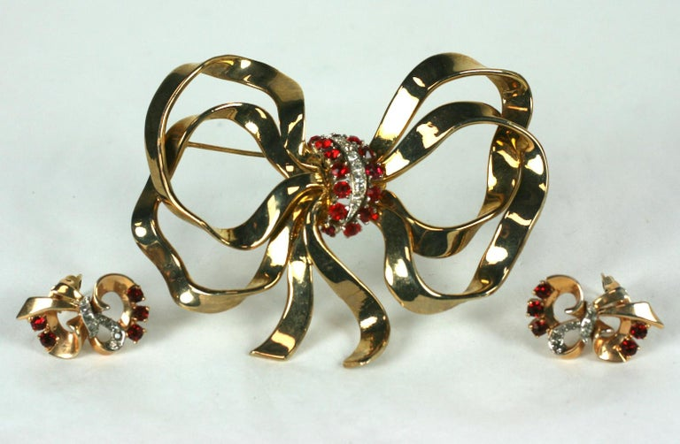 Mazer Retro Bow Knot Brooch Demi Parure For Sale 1