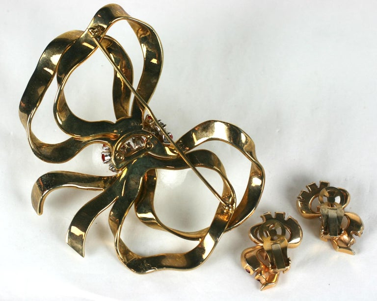 Mazer Retro Bow Knot Brooch Demi Parure For Sale 2