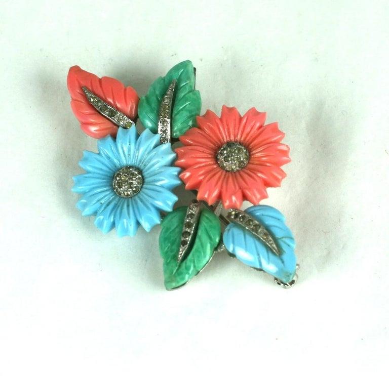 Art Deco Mazer Tricolor Fruit Salad Flower and Leaf Spray Brooch For Sale