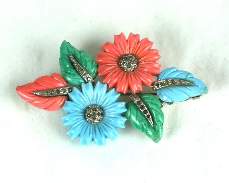 Mazer Tricolor Fruit Salad Flower and Leaf Spray Brooch In Excellent Condition For Sale In Riverdale, NY