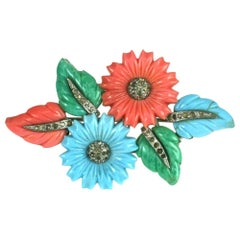 Mazer Tricolor Fruit Salad Flower and Leaf Spray Brooch