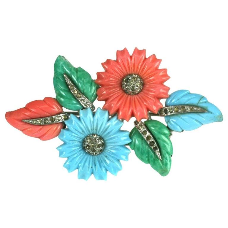 Mazer Tricolor Fruit Salad Flower and Leaf Spray Brooch For Sale