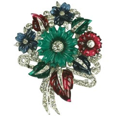 Mazer Tricolor Fruit Salad Flower Bouquet Brooch